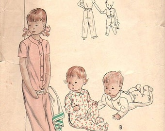 Vogue 2484 Sewing Pattern Vintage 40s Toddler Baby Boy Girl Onesie One Piece Feetsie Pajamas Sweet Pea Sleeper Pyjamas Size 4 Years