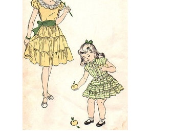 Advance 4854 Sewing Pattern 1940s Girls Garden Party Tea Dress Ruffle Tiered Skirt Size 6 Breast 24