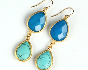 Turquoise Earrings, Blue Jade, Gold Bezel, Gemstone Statement Earrings, Ocean, Azure