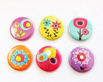 Flower Magnets, Nature Magnets, Floral magnets, Flowers, Floral, button magnets, Kitchen Magnets, Abstract Design, stocking stuffer (3302)