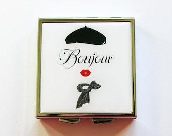 Bonjour, Pill box, Pill case, Square Pill case, 4 Sections, Square Pill box, Paris pill case, Black, White, Kellys Magnets (4035)