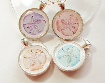 Wine Glass Charms, Sand Dollar, Wine Charms, table setting, Beach, Pastel colors, Beach wine charms (4212)