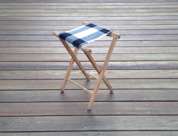 RESERVED - Vintage Camp Stool - Pendleton Wool Seat - Plaid Camp Black White Geometric