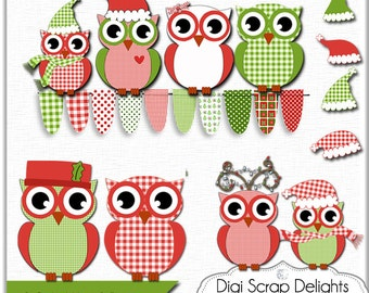 2 DOLLAR SALE!  Off Christmas Clip Art,  Owls Gingham  Red, Green, Cards,  Digital Scrapbooking Bunting,Teacher Clip Art,  Instant