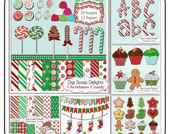 Christmas Clip Art Candy, Cupcakes, Cookies, Scrapbook Kit, Digital Clipart, Cards,   Instant Download
