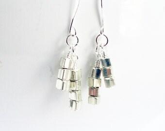 Silver cube earrings - glass cube earrings - space age earrings - square silver cubes - silver stack earrings - cube earrings - abstract