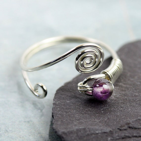 Adjustable Silver Wire Ring with Amethyst Round
