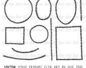 vector laurel wreath vine digital frames and borders, hand drawn doodle leaves frames, clip art design, eps ai vector instant download