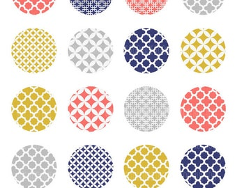 quatrefoil patterns collage sheet, 1.5 inch circles, trellis pattern pink mustard yellow navy blue party printable, instant download - 928