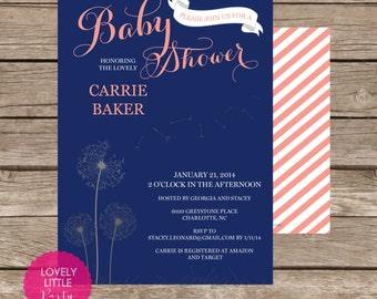 Printable Dandelion Baby Shower Invitation - Lovely Little Party
