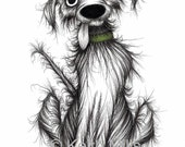 Stinker the dog Print download Filthy smelly pet mutt with sticky out tongue Horrid animal who pongs a bit Humorous pooch picture