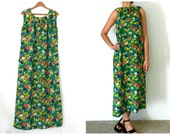 60's FLORAL MAXI DRESS - Watercolor Floral Print / Blue Green Hot Pink / Hawaiian / Tropical / Size Medium