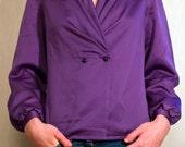 Purple 1980s Blouse - Vintage Size 36