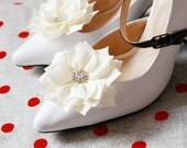 Ivory Rhinestone Flower Shoe Clips - Wedding Shoes Bridal Couture Engagement Party Bride Bridesmaid