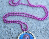 Disney Frozen inspired bottle cap necklace with coordinating colored ball chain or ribbon necklace