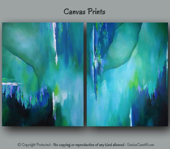 Teal Green Wall Decor : Abstract wall art large painting canvas print set teal