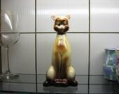 """RaRE Vintage 50s American Bisque SIAMESE CAT Pottery figurine w/ Rubber DOORSTOP door stop 8"""""""