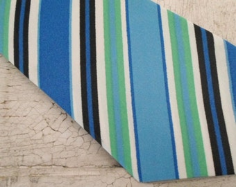 Mens Necktie, Mens Tie, Vintage Tie, Never Worn, Striped Tie, Blue Tie, 1960s, Mad Men, Atomic, Mens Neckties, Ties, Neck Tie, 53x4.5