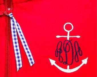 Custom Monogrammed Fleece Full Zip YOUTH Jacket - Personalize with Nine Monogram Styles - Anchor - Master Circle - Men's - Circle - Diamond