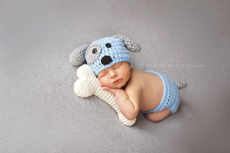 Crochet Newborn Hats : Newborn puppy hat baby boy puppy hat crochet by emmascozyattic