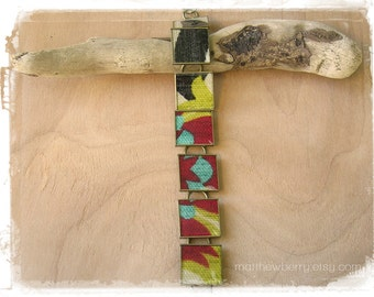 Colorful Print Fabric Bracelet - Cloth and Resin Jewelry
