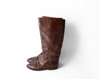 Vintage brown western style women riding boots / italian shoes