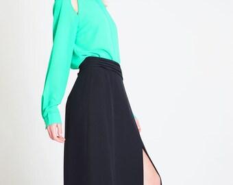 Vintage silk slit maxiskirt Mila Shon // 90s // M/L size