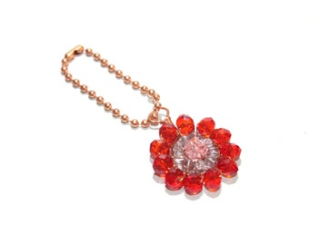 Round flower keychain in red and pink, with crystal beads, copper wire wrapped accessories