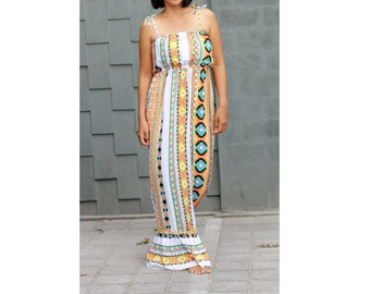 Tribal Summer Dress, Maxi Dress in Aztec Prints