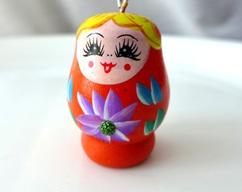 1 Orange Russian Nesting Doll Matryoshka Large Wood Pendant Charm - Charming Hand Painted