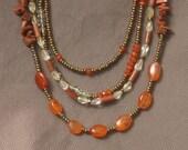 Necklace-Beaded Necklace-Orange Necklace-Gemstone Jewelry-Carnelian Necklace-Citrine Necklace-Mixed Gemstone Necklace-Goldstone Necklace