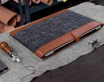 Ultra-Light Macbook Pro Retina 15 leather case, Tan and Gray.