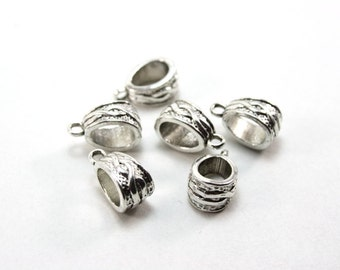12 pcs Hanger Bails - Antique Silver - Ornate Design - works for thicker cord - 5mm hole