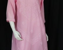 Vintage pink Ethnic dress Summer hand embroidered Indian tunic Cotton Boho midi dress oversized see through 3/4 sleeve Bohemian clothing M L