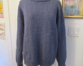 Blue Grey Gray Handknit Sweater Oversize Grunge Baggy 1950s 1989s Vintage Mens Womens Unisex Large Soft