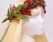Christmas Flower Crown Head Wreath Holiday Winter Weddings Flower Girl Santa Frozen Costume Red Green Berries Mistletoe Snow Ice Party Elf