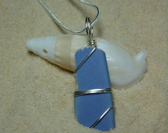 Wire wrapped cornflower blue beach pottery necklace with sterling silver chain