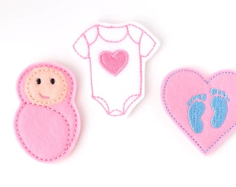 Baby Nurse Badge Reel Bundle - Felt Badge Clips - Cute ID Badge Holders - Labor and Delivery - OB Nurse - NICU Nurses Gifts - BadgeBlooms
