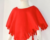 Girls Fleece Poncho.  Toddler Fleece Poncho  in Red