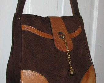 SUPER 70's SUEDE LEATHER Purse // Chocolate Brown Gold Chain Link Satchel That 70's Show Mod Hippie Hipster Casino American Hustle