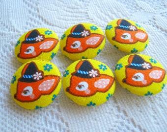 Reindeer Yellow Orange Fabric Buttons, Fabric covered button, Orange deer Set, 6pcs,25mm, woman, favor, spring, cute ,quilt, handmade