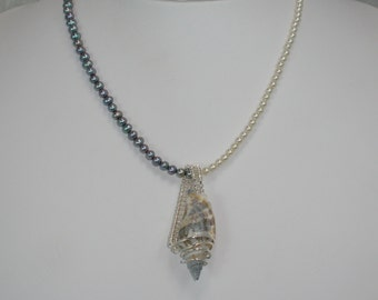 Shell and Pearl Necklace Wire Wrapped Pendant Blue Cream Pearls CALM