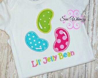 Jelly Bean shirt or bodysuit- Easter shirt- Girl's Jelly Bean Applique Shirt- Monogram Easter Shirt- Custom Birthday shirt- Girl Easter