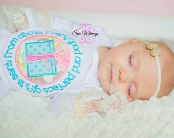 Baby gown- Shabby Chic baby gown- Gift from above gown- New Baby- Baby Shower Gift- Monogram- Girl- Custom