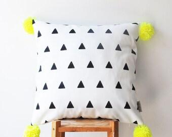 "Geometric Decorative Pillow, Modern Kids Pillow, Kids Cushion, Throw Pillow, Black & White Triangle Pillow, Neon Pompom Pillow 16"" x 16"""