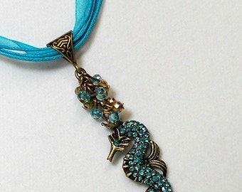 Sale Seahorse Charm Pendant Necklace Antique Gold Seahorse With Turquoise Crystal Pendant Necklace Blue Seahorse Necklace