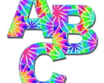 RAINBOW TIE DYE Alphabet Letters Wall Art Decals Girls Hippie