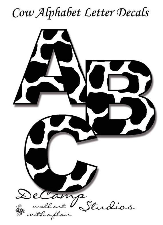 alphabet letters to print cow letter decals wall art farm animal nursery stickers room 1073