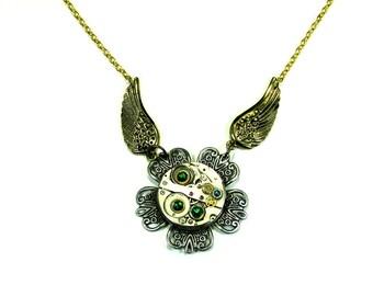 On Golden wings  Tick-Tock Flower Steampunk Necklace , steampunk flower, steampunk pendant.