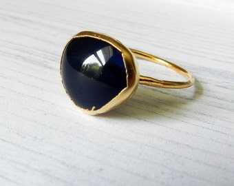 20% OFF SALE ON Sale, onyx ring, blue onyx, organic jewelry, gold ring, stacking ring, stackable ring, navy blue ring